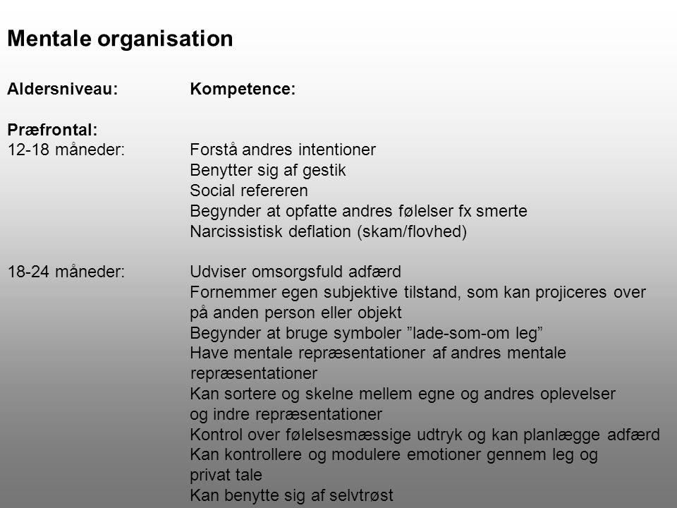 Mentale organisation Aldersniveau: Kompetence: Præfrontal: