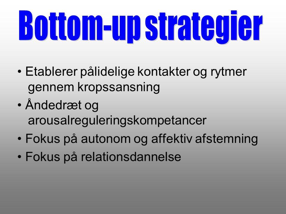 Bottom-up strategier • Etablerer pålidelige kontakter og rytmer gennem kropssansning. • Åndedræt og arousalreguleringskompetancer.