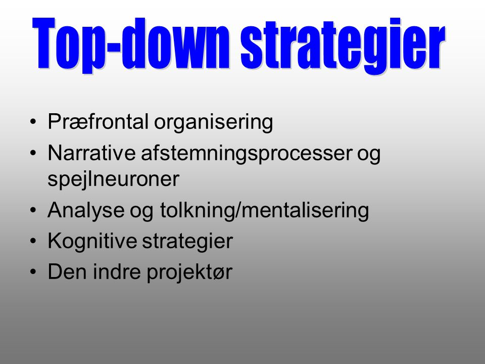 Top-down strategier Præfrontal organisering