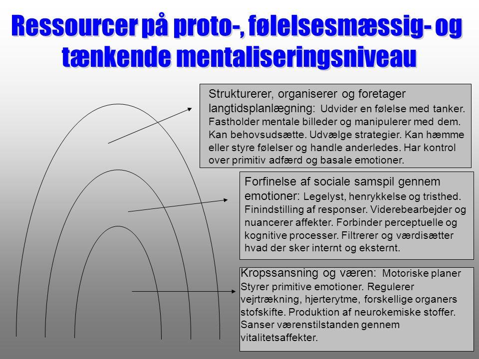 Ressourcer på proto-, følelsesmæssig- og tænkende mentaliseringsniveau