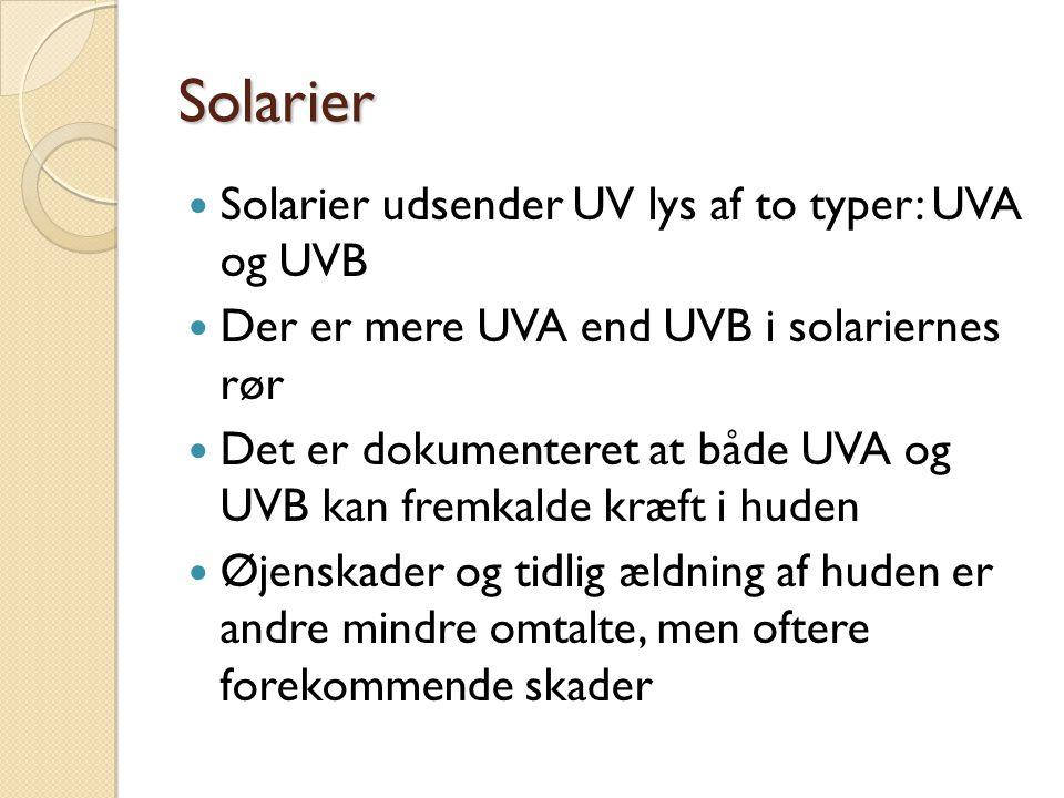 Solarier Solarier udsender UV lys af to typer: UVA og UVB