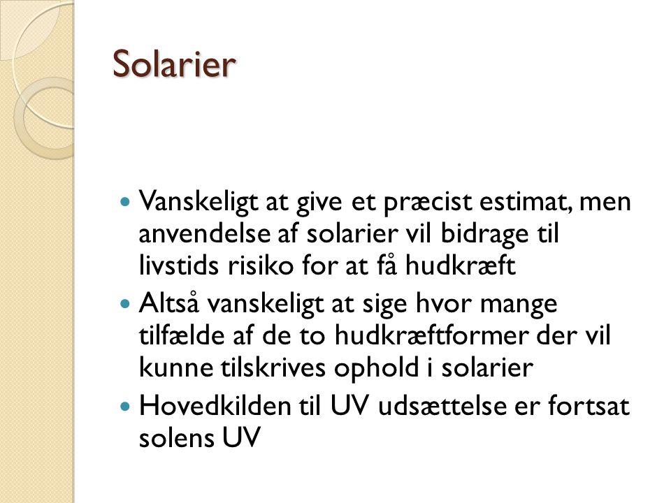 Solarier Vanskeligt at give et præcist estimat, men anvendelse af solarier vil bidrage til livstids risiko for at få hudkræft.