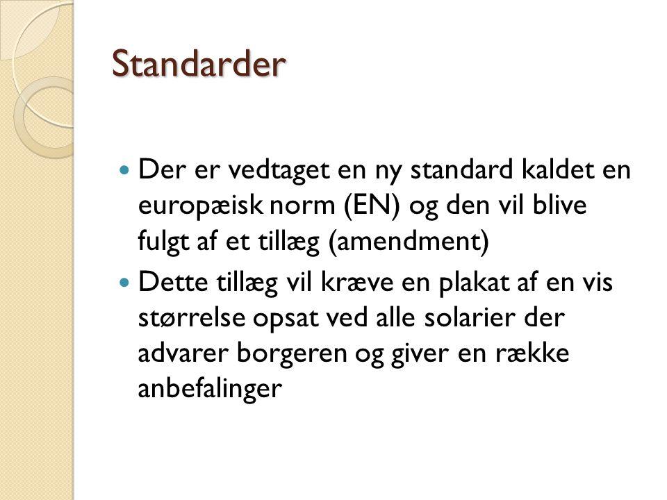 Standarder Der er vedtaget en ny standard kaldet en europæisk norm (EN) og den vil blive fulgt af et tillæg (amendment)