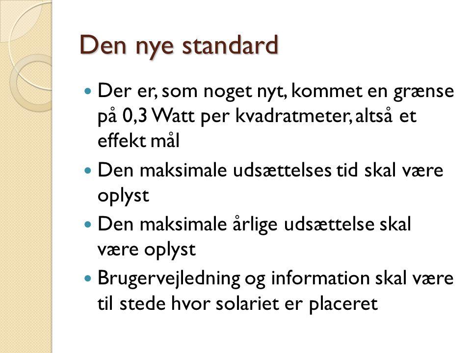 Den nye standard Der er, som noget nyt, kommet en grænse på 0,3 Watt per kvadratmeter, altså et effekt mål.