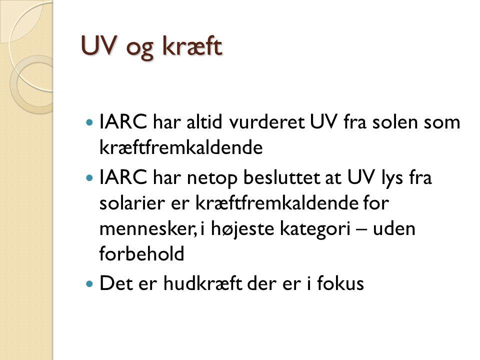 UV og kræft IARC har altid vurderet UV fra solen som kræftfremkaldende