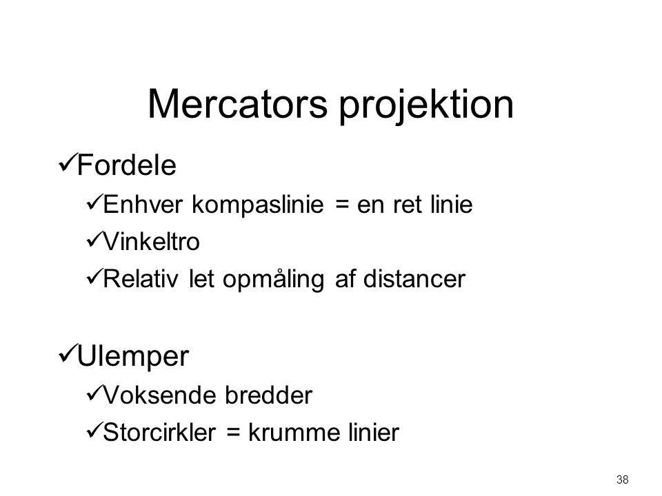 Mercators projektion Fordele Ulemper Enhver kompaslinie = en ret linie