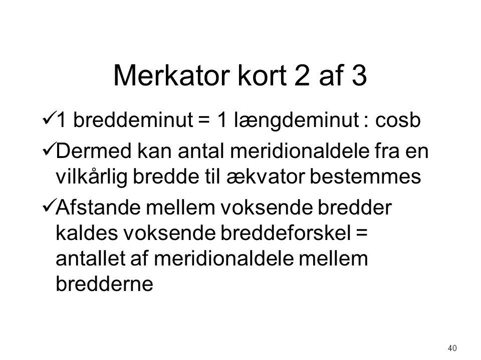 Merkator kort 2 af 3 1 breddeminut = 1 længdeminut : cosb