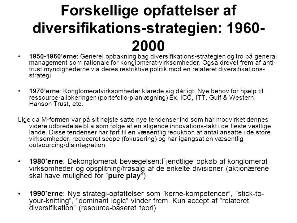 Forskellige opfattelser af diversifikations-strategien: 1960-2000