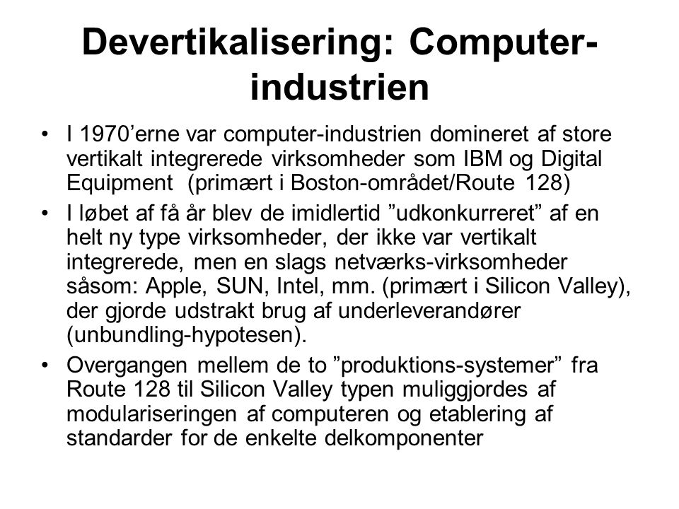 Devertikalisering: Computer-industrien