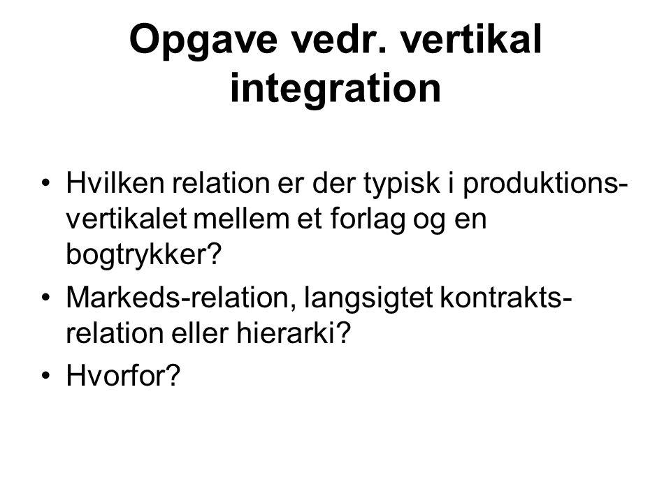 Opgave vedr. vertikal integration
