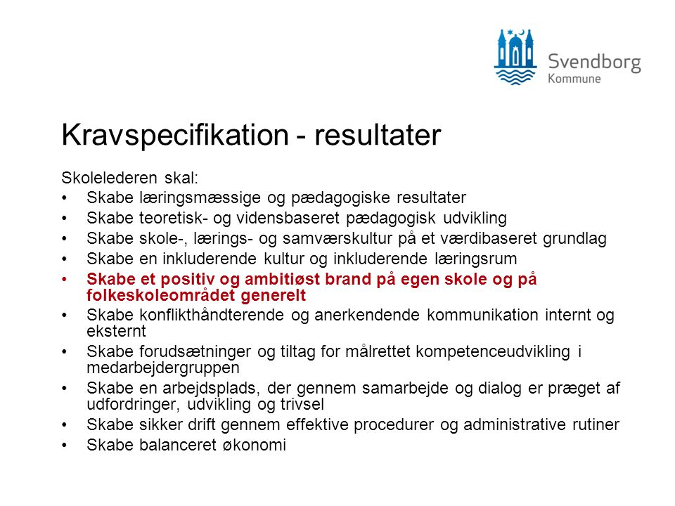 Kravspecifikation - resultater