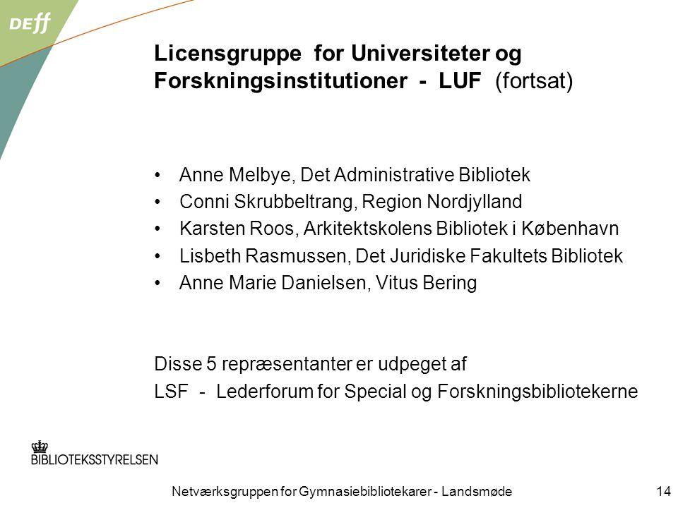 Netværksgruppen for Gymnasiebibliotekarer - Landsmøde