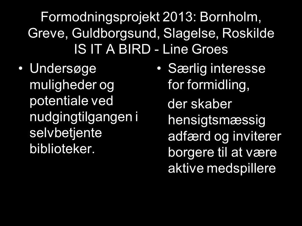 Formodningsprojekt 2013: Bornholm, Greve, Guldborgsund, Slagelse, Roskilde IS IT A BIRD - Line Groes
