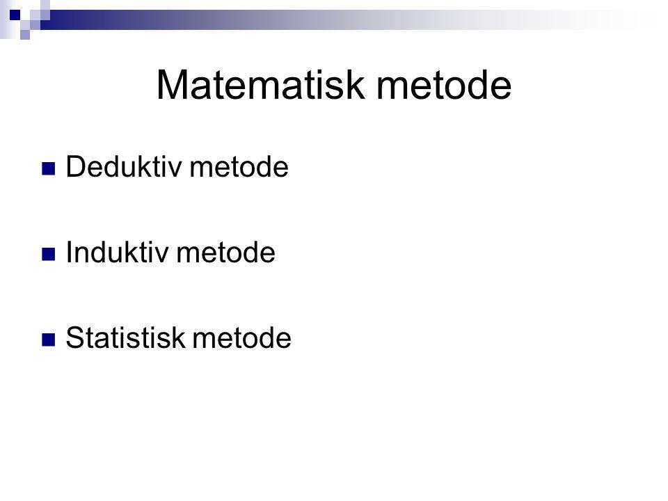 Matematisk metode Deduktiv metode Induktiv metode Statistisk metode