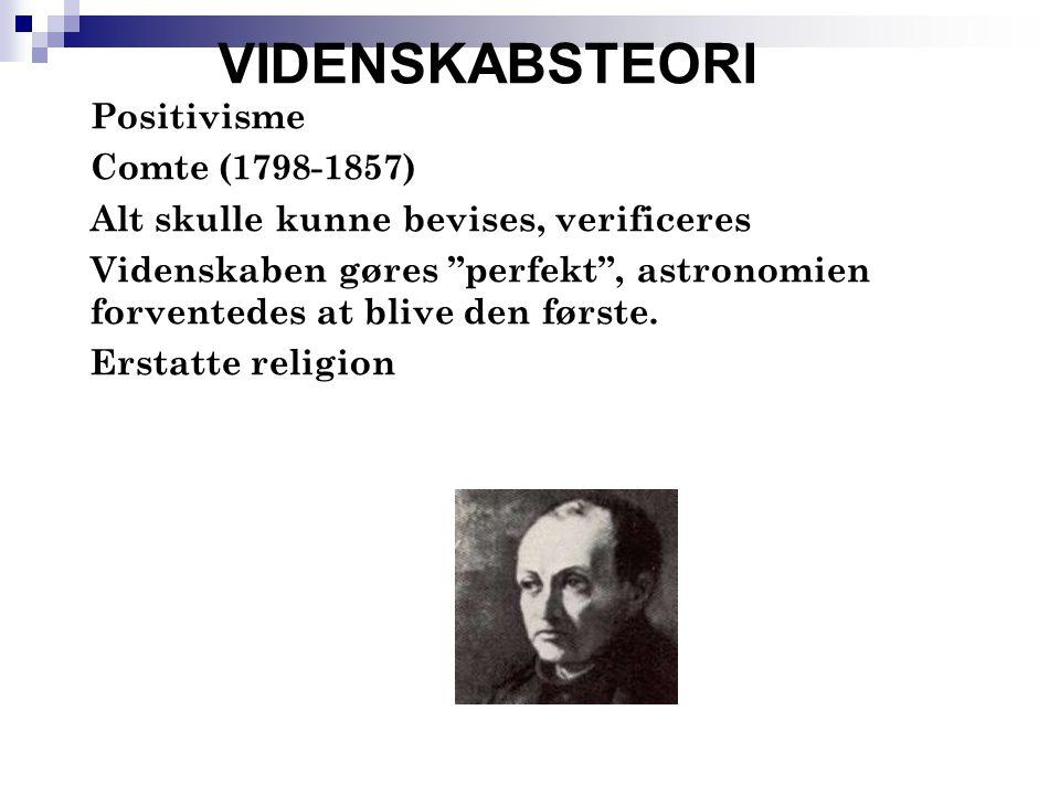 VIDENSKABSTEORI Positivisme Comte (1798-1857)
