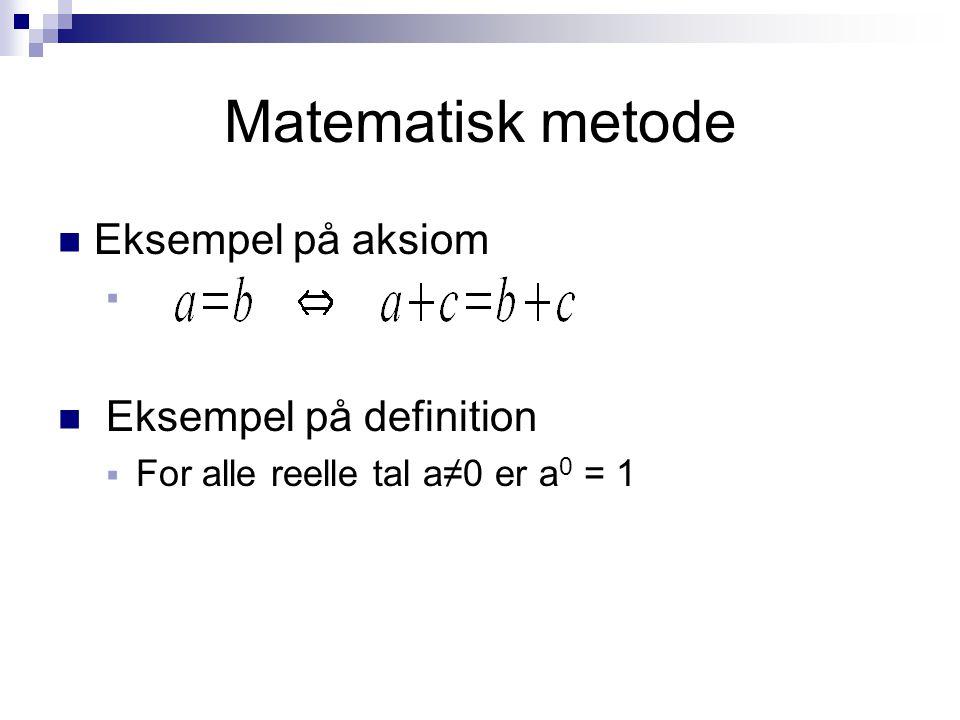 Matematisk metode Eksempel på aksiom Eksempel på definition