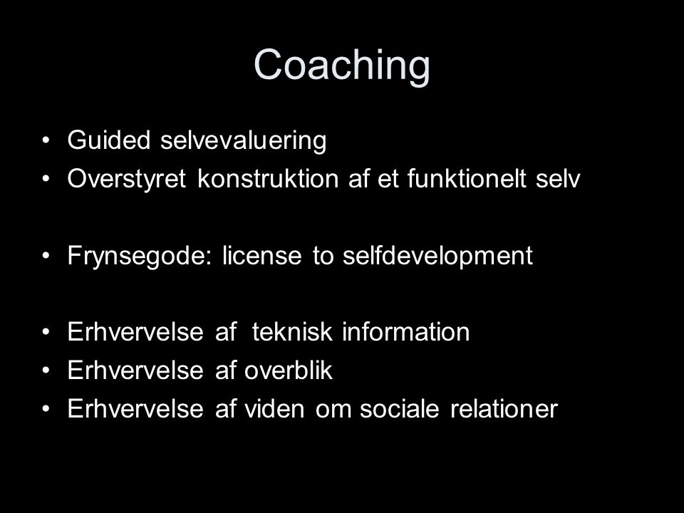 Coaching Guided selvevaluering