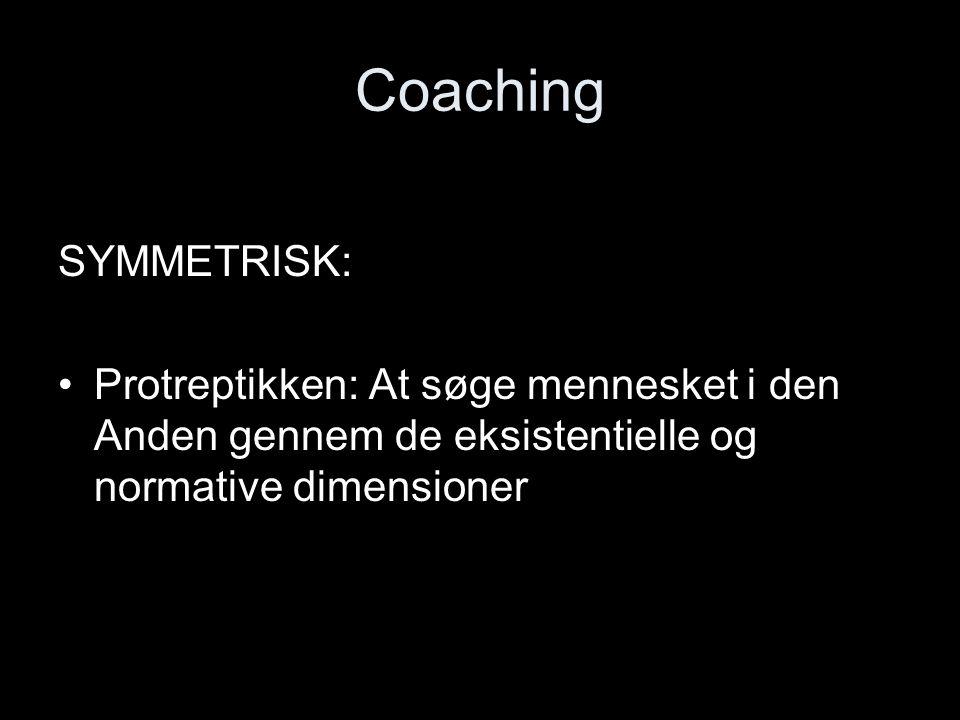 Coaching SYMMETRISK: Protreptikken: At søge mennesket i den Anden gennem de eksistentielle og normative dimensioner.