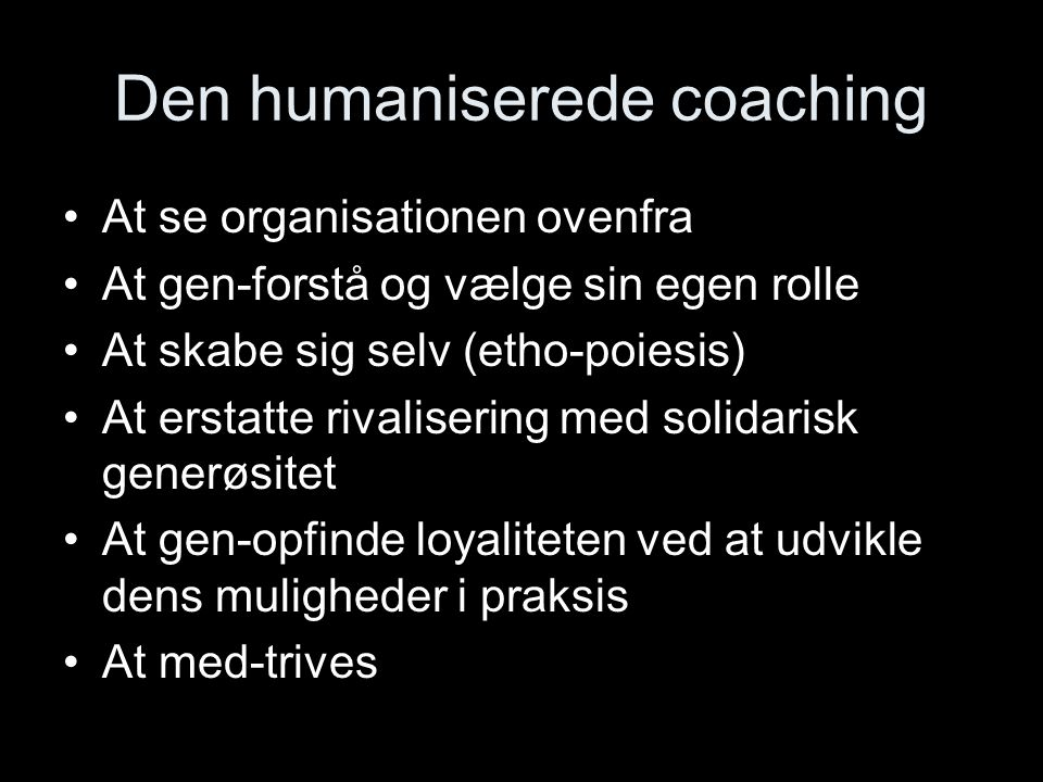 Den humaniserede coaching