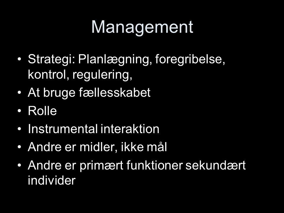 Management Strategi: Planlægning, foregribelse, kontrol, regulering,