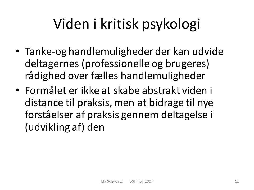 Viden i kritisk psykologi