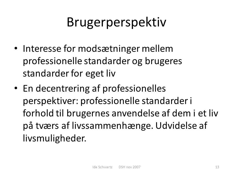 Brugerperspektiv Interesse for modsætninger mellem professionelle standarder og brugeres standarder for eget liv.