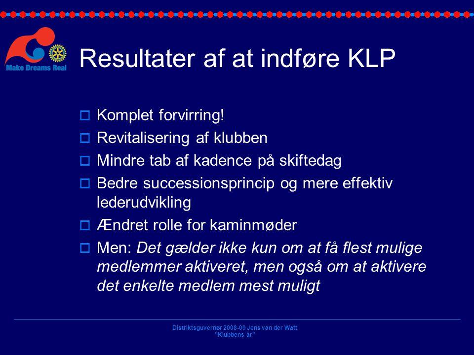 Resultater af at indføre KLP