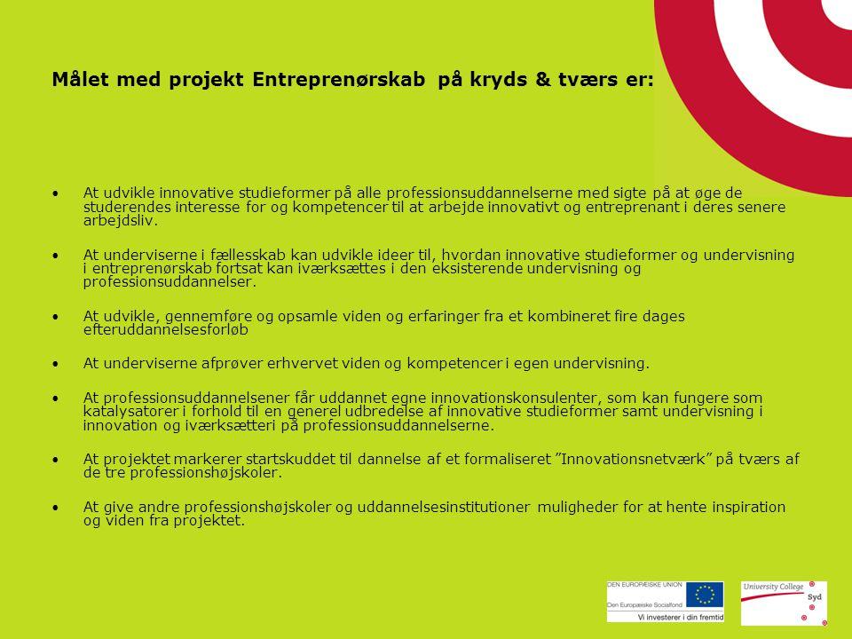 Målet med projekt Entreprenørskab på kryds & tværs er: