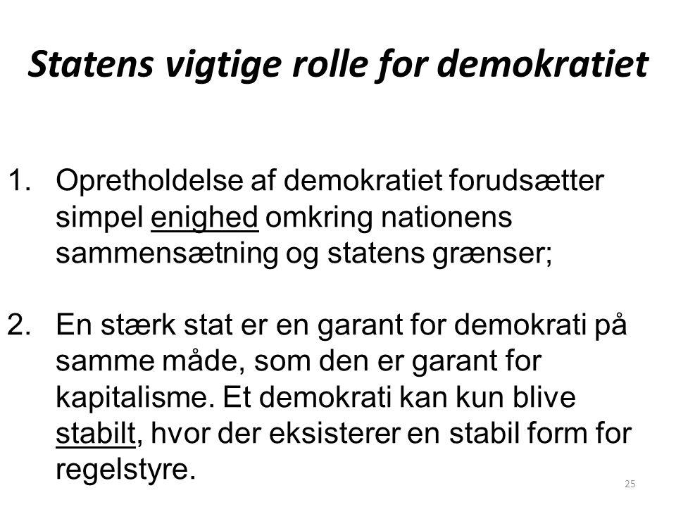 Statens vigtige rolle for demokratiet