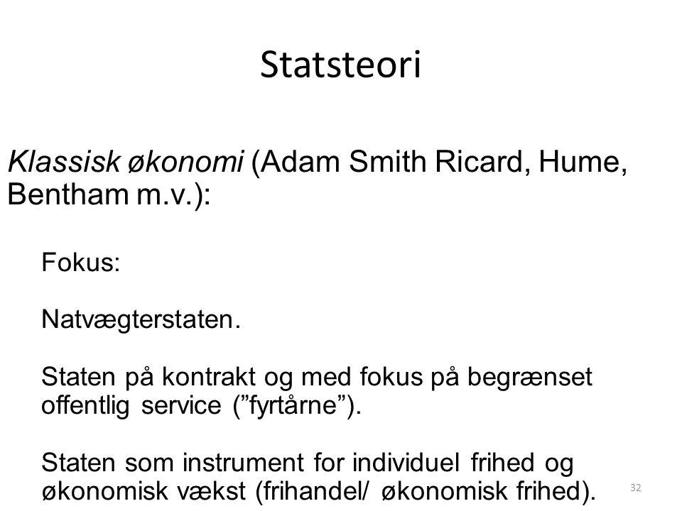 Statsteori Klassisk økonomi (Adam Smith Ricard, Hume, Bentham m.v.):