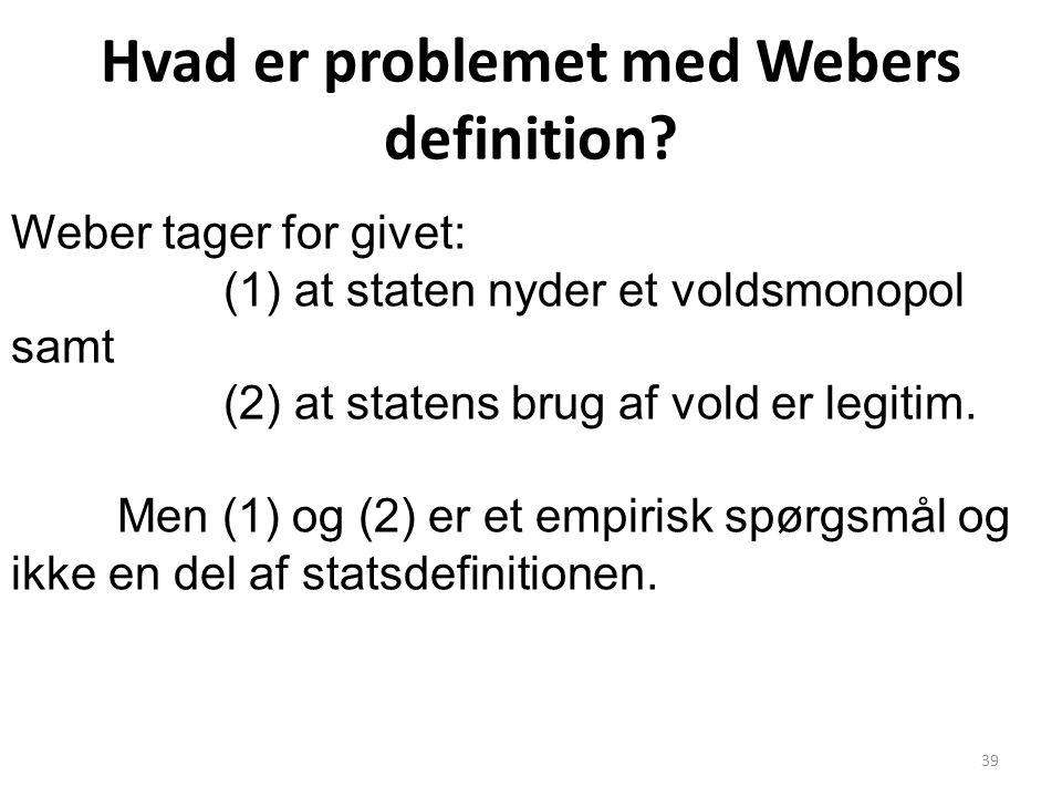 Hvad er problemet med Webers definition