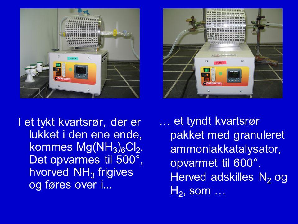 … et tyndt kvartsrør pakket med granuleret ammoniakkatalysator, opvarmet til 600°. Herved adskilles N2 og H2, som …