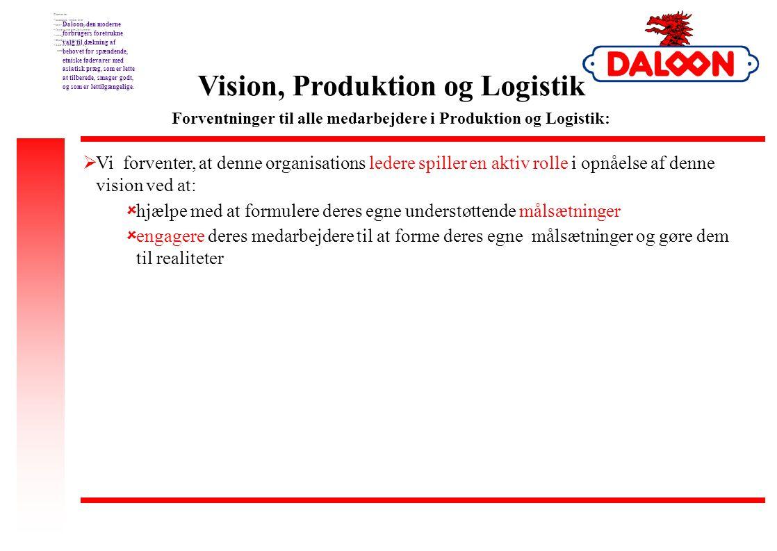 Vision, Produktion og Logistik