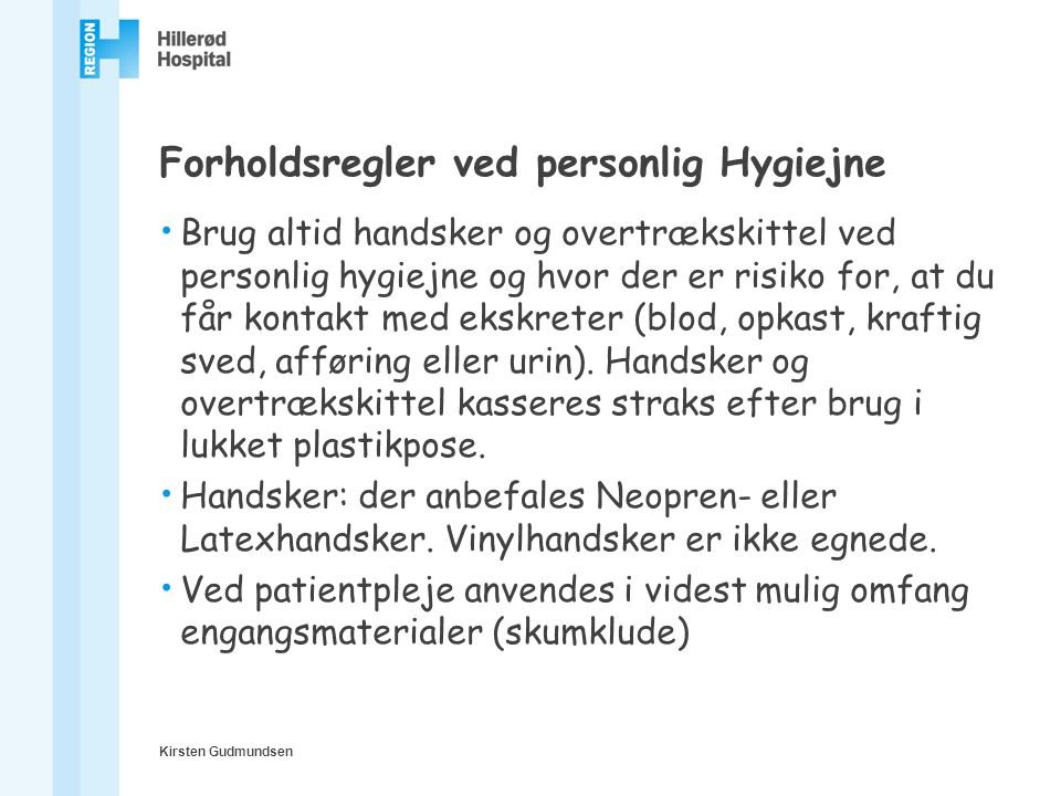 Forholdsregler ved personlig Hygiejne