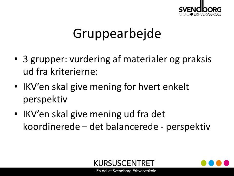 Gruppearbejde 3 grupper: vurdering af materialer og praksis ud fra kriterierne: IKV'en skal give mening for hvert enkelt perspektiv.