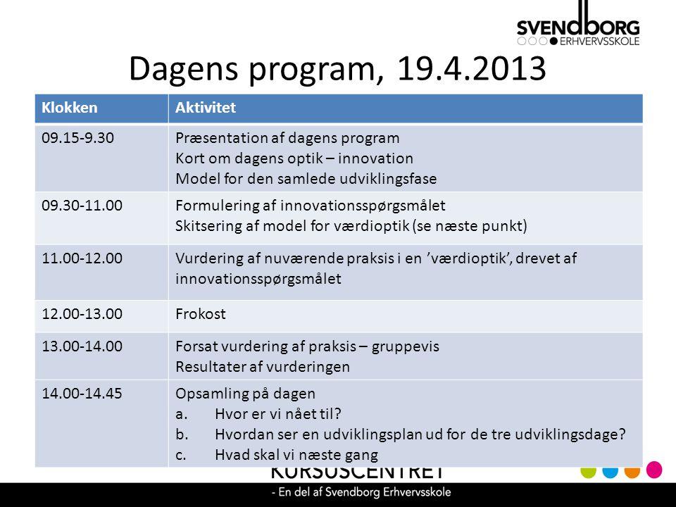 Dagens program, 19.4.2013 Klokken Aktivitet 09.15-9.30