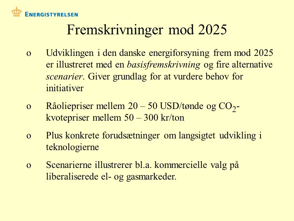 Fremskrivninger mod 2025