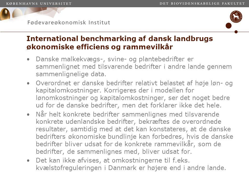 International benchmarking af dansk landbrugs økonomiske efficiens og rammevilkår