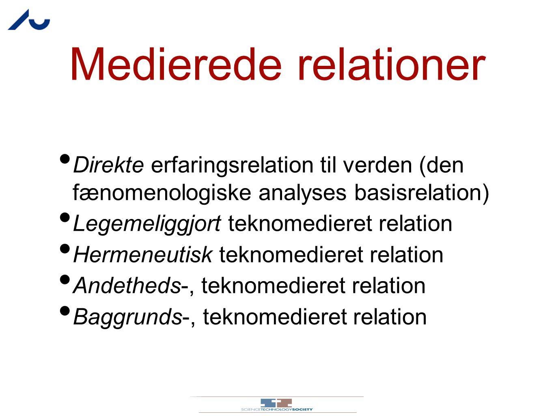 Medierede relationer Direkte erfaringsrelation til verden (den fænomenologiske analyses basisrelation)