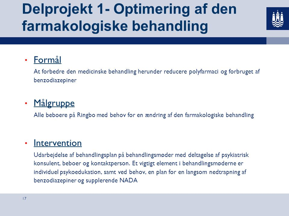 Delprojekt 1- Optimering af den farmakologiske behandling