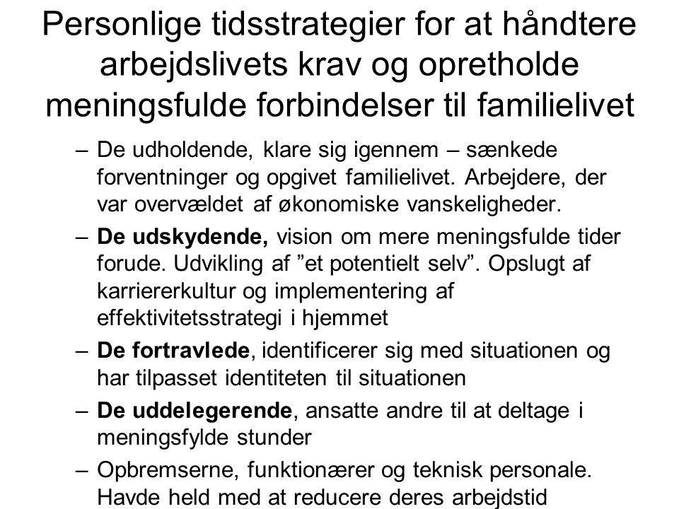 Personlige tidsstrategier for at håndtere arbejdslivets krav og opretholde meningsfulde forbindelser til familielivet
