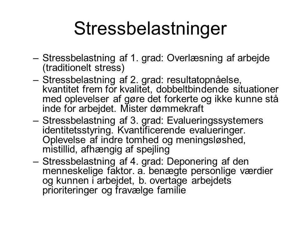 Stressbelastninger Stressbelastning af 1. grad: Overlæsning af arbejde (traditionelt stress)