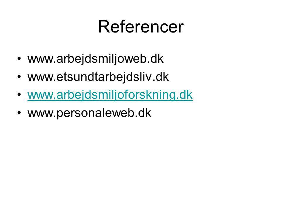 Referencer www.arbejdsmiljoweb.dk www.etsundtarbejdsliv.dk