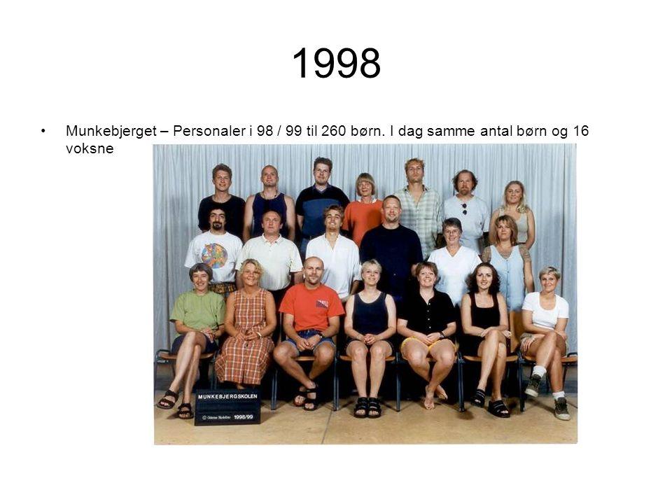 1998 Munkebjerget – Personaler i 98 / 99 til 260 børn. I dag samme antal børn og 16 voksne