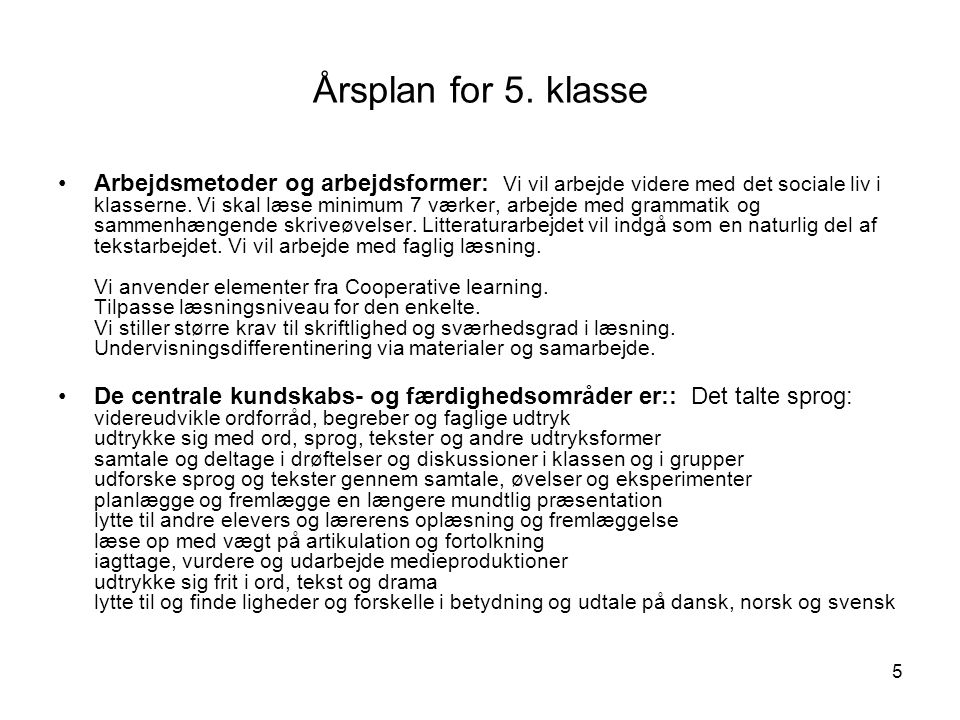 Årsplan for 5. klasse