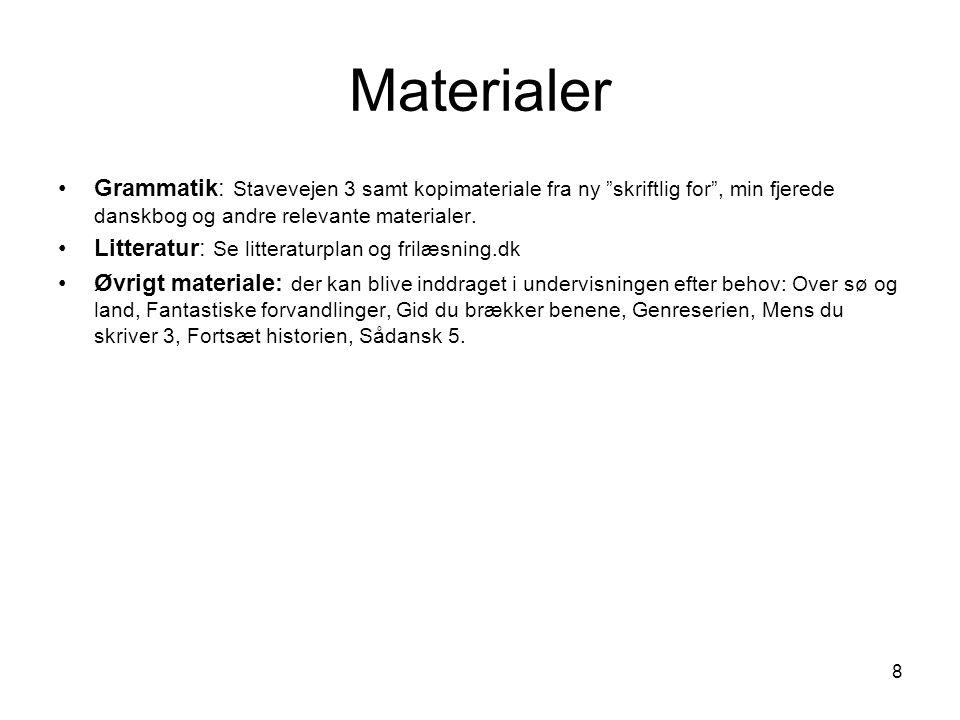 Materialer Grammatik: Stavevejen 3 samt kopimateriale fra ny skriftlig for , min fjerede danskbog og andre relevante materialer.