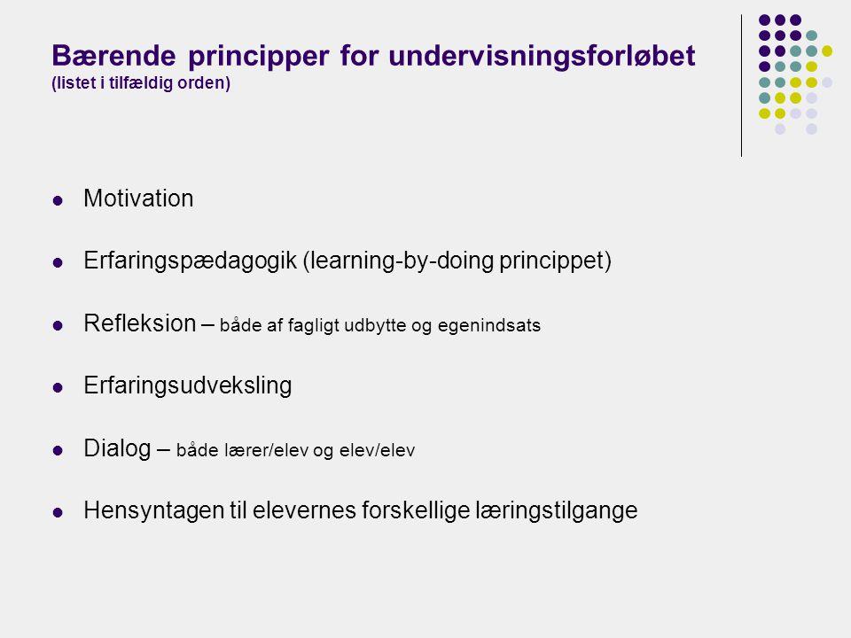 Bærende principper for undervisningsforløbet (listet i tilfældig orden)