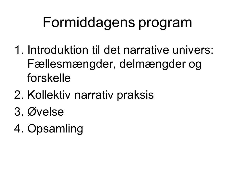 Formiddagens program Introduktion til det narrative univers: Fællesmængder, delmængder og forskelle.