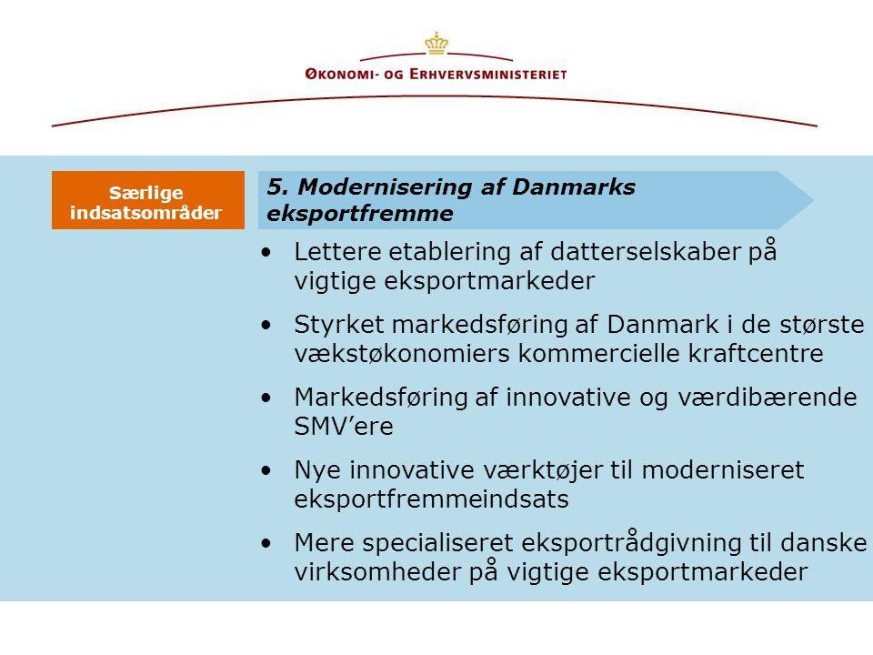 Lettere etablering af datterselskaber på vigtige eksportmarkeder