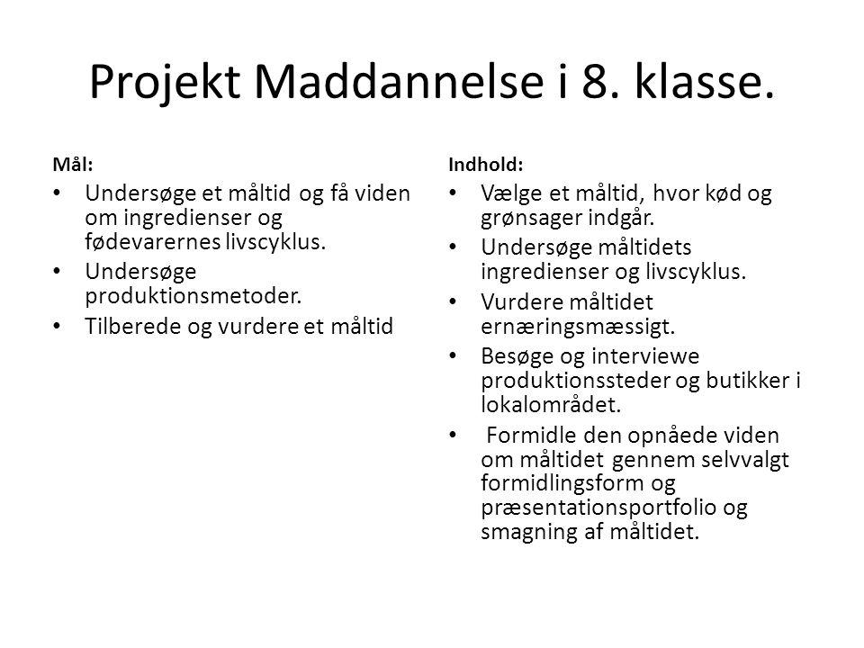 Projekt Maddannelse i 8. klasse.